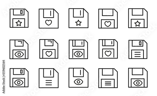 Fotografiet Simple set of save icons in trendy line style.