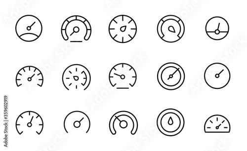 Fotografía Premium set of speedometer line icons.