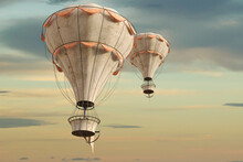 Old Vintage Hot Air Balloons In The Sky, 3d Render.
