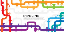 Pipelines Colorful Textured Background With Copy Space. Industrial Vector Banner With Pipes And Equipment.