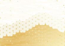 白と金色の日本伝統模...