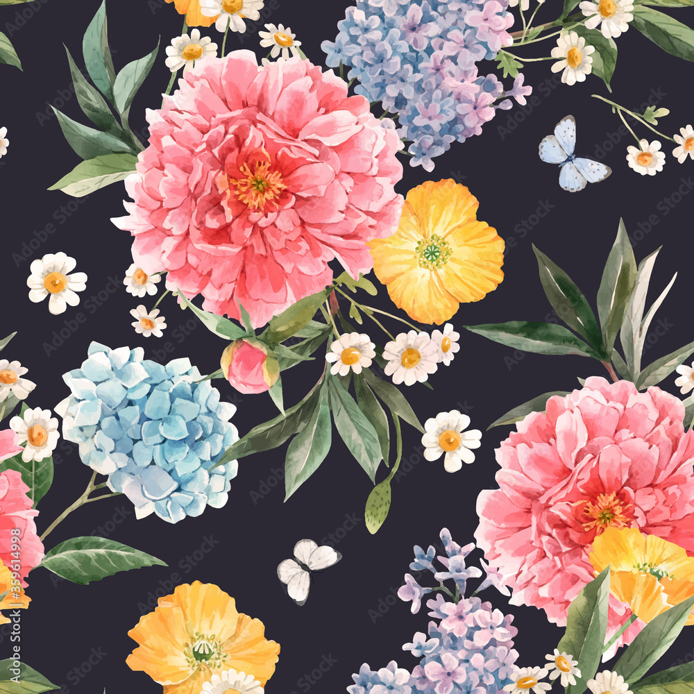 Fototapeta Beautiful vector seamless pattern with watercolor pink peony, blue hydrangea and lilac summer flowers and butterflies. Stock floral illustration.