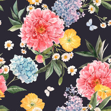 Beautiful Vector Seamless Pattern With Watercolor Pink Peony, Blue Hydrangea And Lilac Summer Flowers And Butterflies. Stock Floral Illustration.