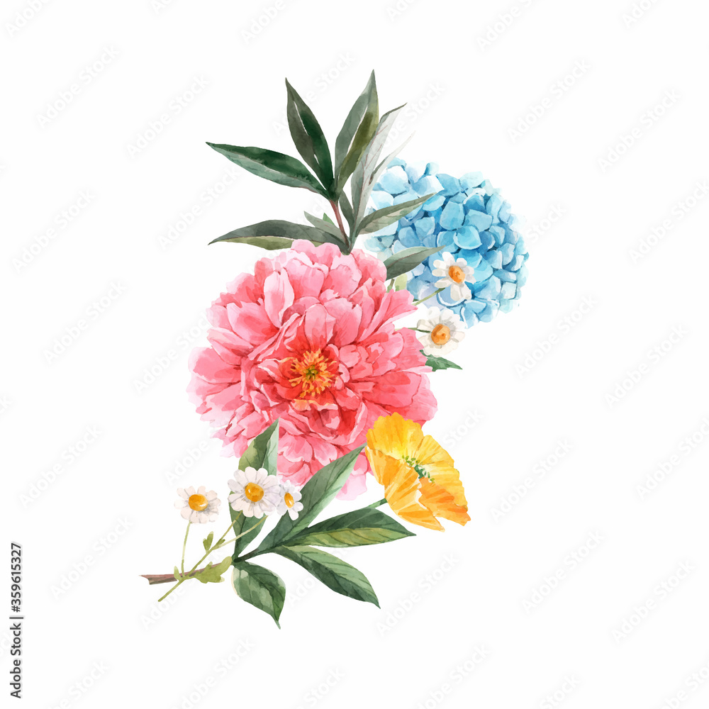Fototapeta Beautiful vector floral bouquet composition with watercolor pink peony and yellow poppy flowers. Stock illustration