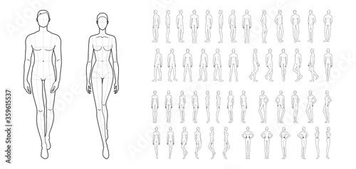 Fototapeta Fashion template of 50 men and women. obraz