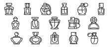 Fragrance Bottles Icons Set. O...