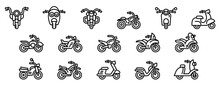 Motorbike Icons Set. Outline S...