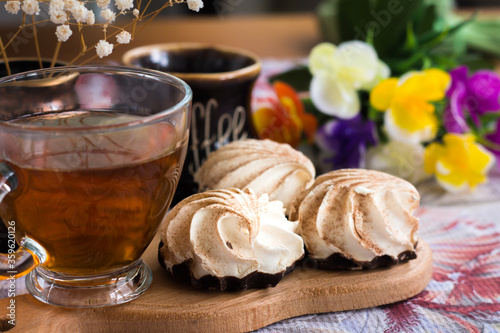 breakfast with souffle mini cakes, homemade meringues or zefir with agar-agar Canvas Print