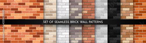 Cuadros en Lienzo Realistic Vector brick wall seamless pattern set