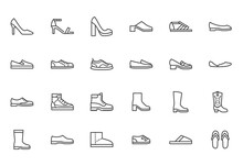 Shoe Line Icon Set. High Heels...