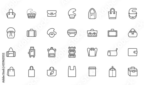 Fotomural Bags line icon set