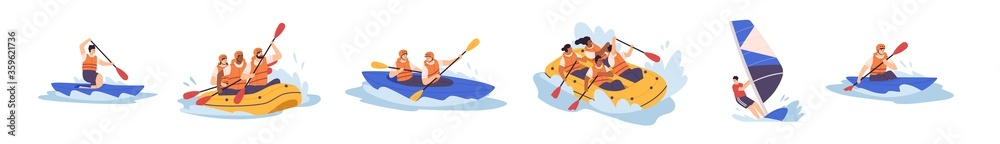 Fototapeta Set of people enjoy active water sports vector illustration. Collection of extreme man and woman rafting, kayaking, canoeing and sailing isolated. Diverse person in protective helmet and vest