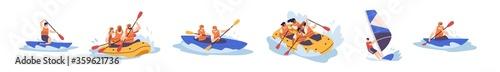 Papel de parede Set of people enjoy active water sports vector illustration