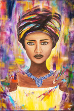 Painted African Woman On Canvas