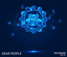 Hologram Of People And Gears. Engineering From Polygons, Triangles, Points, And Lines. People And Gears Are Low-poly Joint Structure. The Technology Concept.