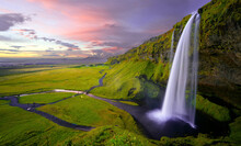White Waterfall In The Green M...
