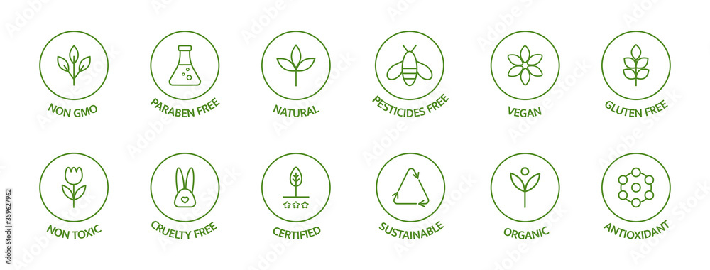 Fototapeta Organic cosmetic line icons set. Product free allergen labels. Natural products badges. GMO free emblems. Organic stickers. Healthy eating. Vegan, bio food. Vector illustration