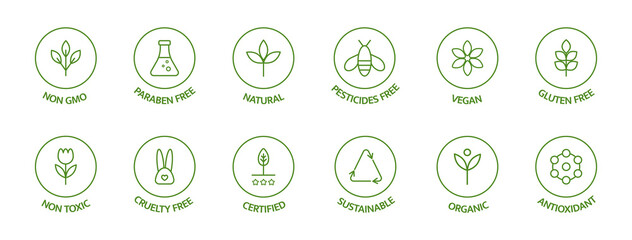 Organic cosmetic line icons set. Product free allergen labels. Natural products badges. GMO free emblems. Organic stickers. Healthy eating. Vegan, bio food. Vector illustration