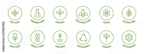 Foto Organic cosmetic line icons set