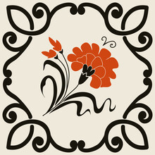 Black, Red And Beige Azulejo Tile. Portuguese And Spain Decor. Islam, Arabic, Indian, Ottoman Motif. Vector Hand Drawn Pattern