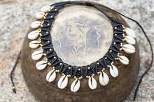 Macrame Boho Necklace With Whi...