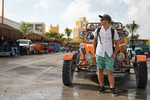 Man Standing Near Buggy Car In The Port Costa Maya Mexico