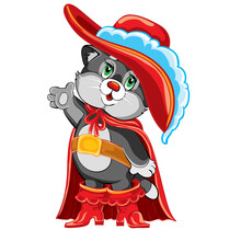 Fairy Tale Character Cat In Boots In A Red Cloak And Hat With A Feather, Cartoon Illustration, Isolated Object On A White Background, Vector Illustration,