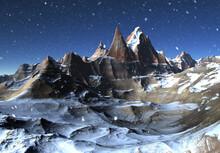 3D Rendered Fantasy Winter Mou...
