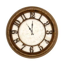 Wooden Round Analog Wall Clock Isolated On White Background, Its Eleven Oclock.