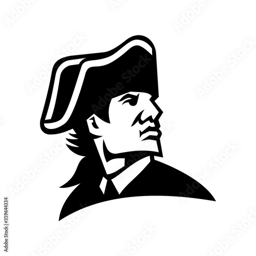 American Revolution General Looking to Side Mascot Black and White Canvas Print