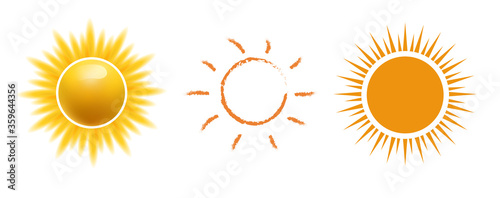 Fototapeta Vector sun icon set, Realistic, web, hand drawn sun icon for weather design or sunscreen cosmetic. Sunshine symbol good weather happy orange sun illustration isolated in white background. obraz