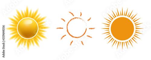 Tela Vector sun icon set, Realistic, web, hand drawn sun icon for weather design or sunscreen cosmetic