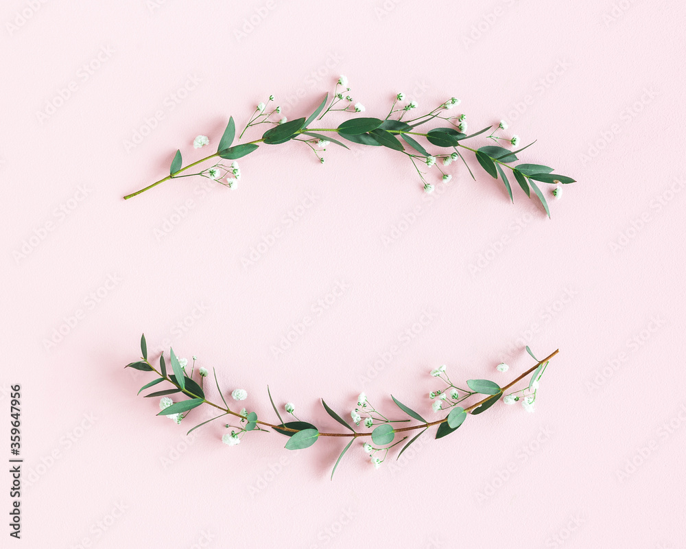 Fototapeta Flowers composition. Wreath made of gypsophila flowers, eucalyptus leaves on pink background. Spring concept. Flat lay, top view