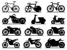 Motorbike Black Silhouettes. M...