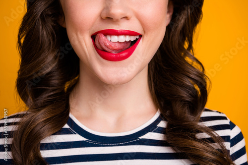 Closeup cropped photo of pretty wavy lady licking tongue red bright allure tende Canvas Print