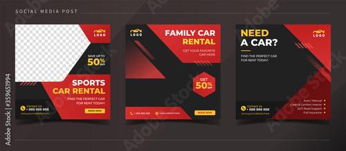 Cuadros en Lienzo Car rental banner for social media post template