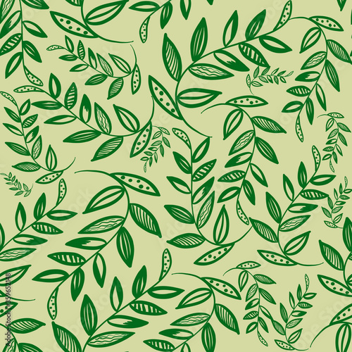 Fototapety, obrazy: Simple doodle green branch with leaves on beige background. Seamless pattern with outline leaves. Linen print, wedding, packaging, wallpaper, textile, fabric, postcard design