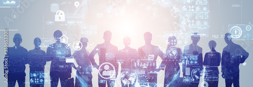 teamwork, engineer, business, human resources, network, communication, information, personal information, privacy, system, data, big data, male, female, silhouette, technology, gui, interface, cg, ict