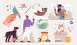 Set of People and their pets illustrations. Men and women having fun, training and playing with their pets. Vector