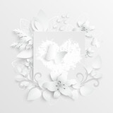 White rose. Square frame with abstract cut flowers. Vector illustration.