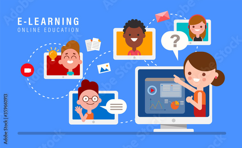 E-learning online education concept illustration. Online teacher on computer monitor. Kids studying at home via internet. - 359660913
