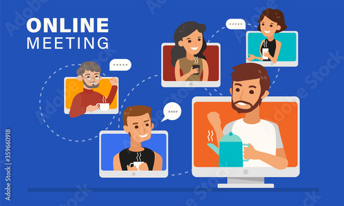 Casual online meeting with friends illustration.
