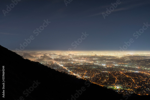 Foggy night mountaintop view of Pasadena, Altadena and Los Angeles in Southern California. #359664344