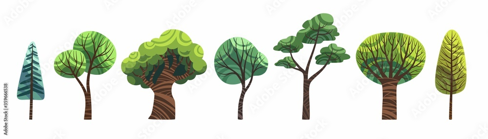 Fototapeta Cute cartoon trees set isolated on white vector. Old and young, big and small green trees stock flat illustration, clip art for childrens book.