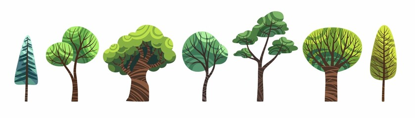 Cute cartoon trees set isolated on white vector. Old and young, big and small green trees stock flat illustration, clip art for childrens book.