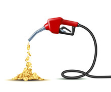Stream Of Gold Coins Pours From The Fuel Handle Pump Nozzle With Hose.