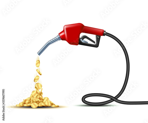 Valokuva Stream of gold coins pours from the Fuel handle pump nozzle with hose