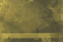 Abstract Grunge Green Background With Painting Splatters And Birds Flying On The Side