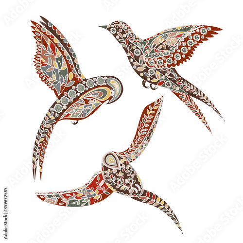 Canvastavla Various flying birds with ornaments scandinavian style