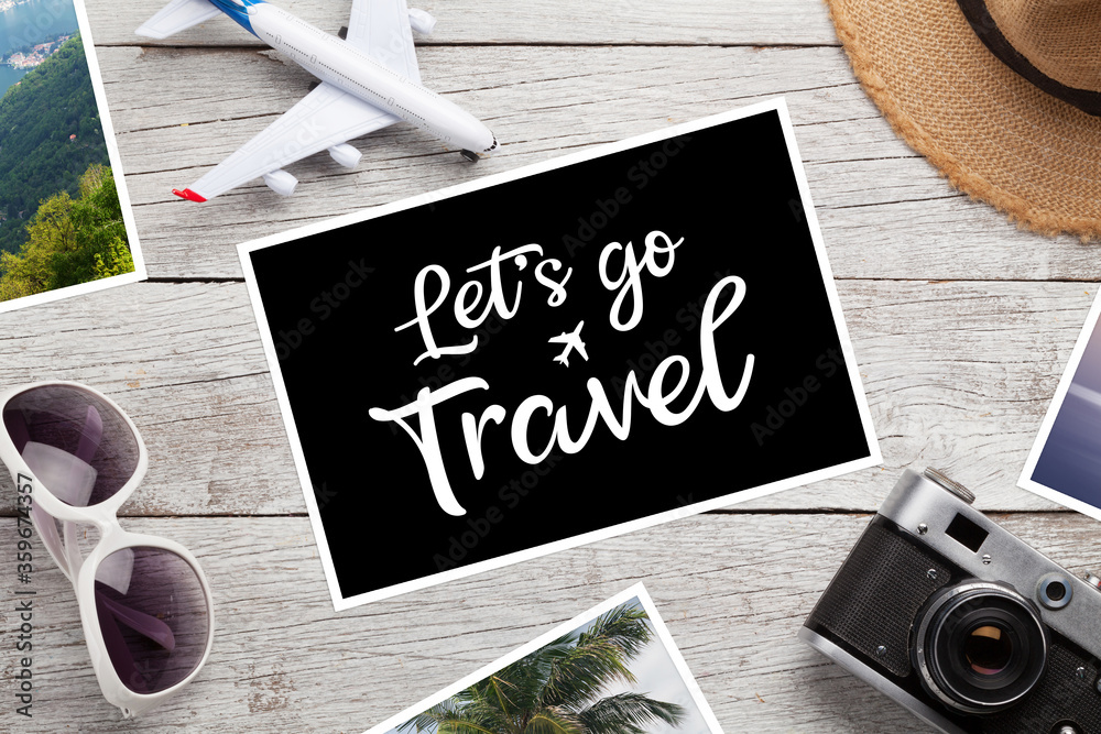 Fototapeta Travel concept with vacation photos